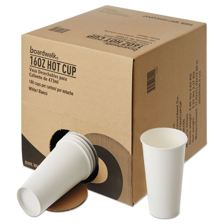 Boardwalk Convenience Pack Paper Hot Cups, 16 oz, White, 180/Carton