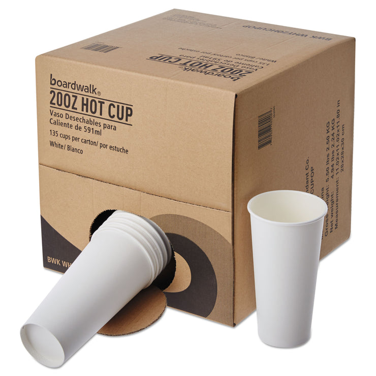 Boardwalk Convenience Pack Paper Hot Cups, 20 oz, White, 135/Carton