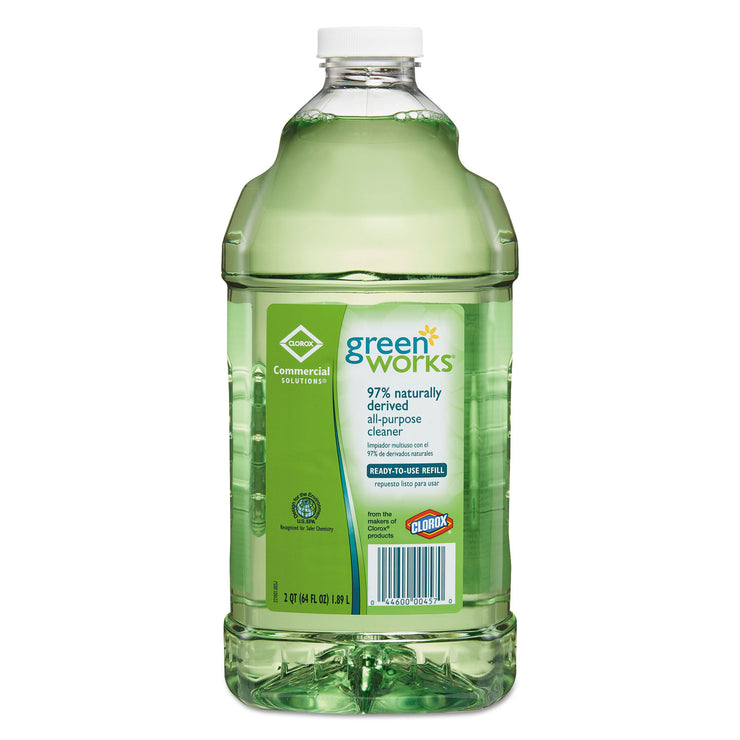 Green Works All-Purpose and Multi-Surface Cleaner, Original, 64oz Refill, 6/Carton