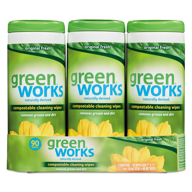 Green Works Compostable Cleaning Wipes, 7 x 7 1/2, Original Scent, 30/Canister, 3/Carton