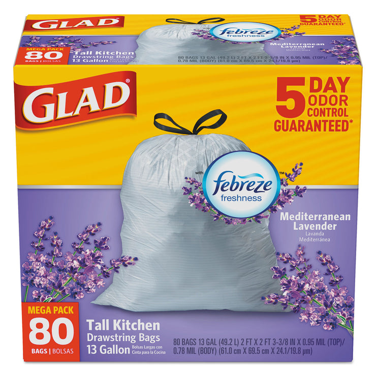 Glad OdorShield Kitchen Drawstring Bag, Lavender Breeze, 13gal, White, 80/BX, 3 BX/CT