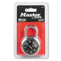 "Master Lock Combination Lock, Stainless Steel, 1 7/8"" Wide, Black Dial"