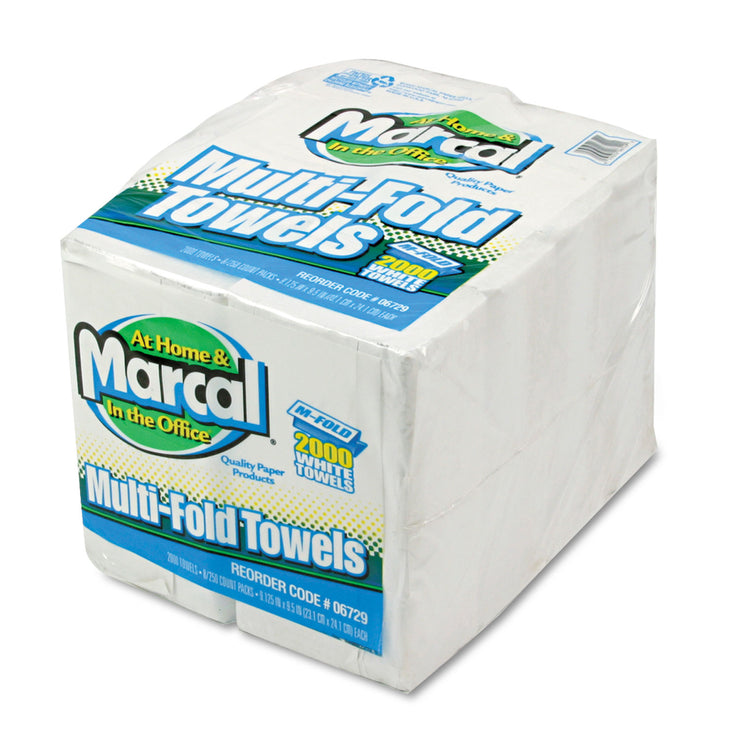 Marcal Small Steps 100% Premium Recycled Towels, 1-Ply, Multi-fold, White, 250/Pack