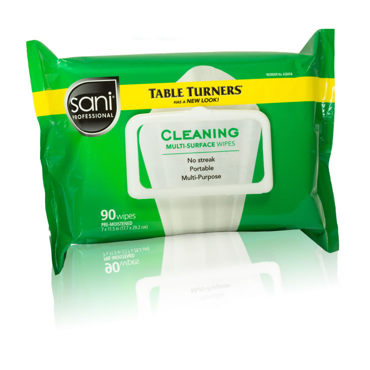 TABLE TURNER CLEANING MULTI SURFACE WIPE 12/90CT GREEN FLAT PACK 7x11.5