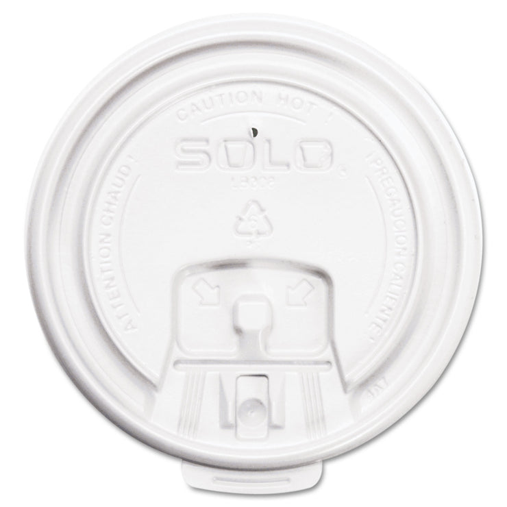 Dart Lift Back and Lock Tab Cup Lids, for 8oz Cups, White, 100/Sleeve, 20 Sleeves/CT