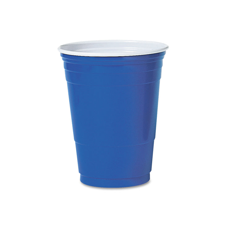 Dart Plastic Party Cold Cups, 16oz, Blue, 50/Bag, 20 Bags/Carton