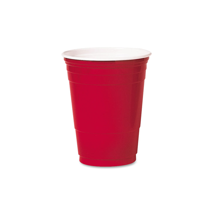 Dart Plastic Party Cold Cups, 16oz, Red, 50/Bag, 20 Bags/Carton