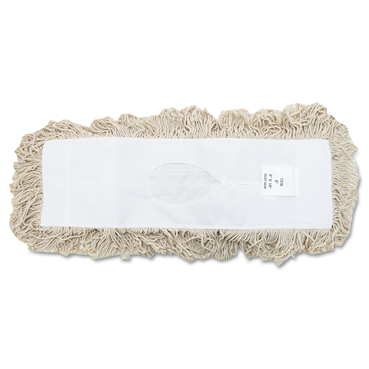 Boardwalk Industrial Dust Mop Head, Hygrade Cotton, 18w x 5d, White