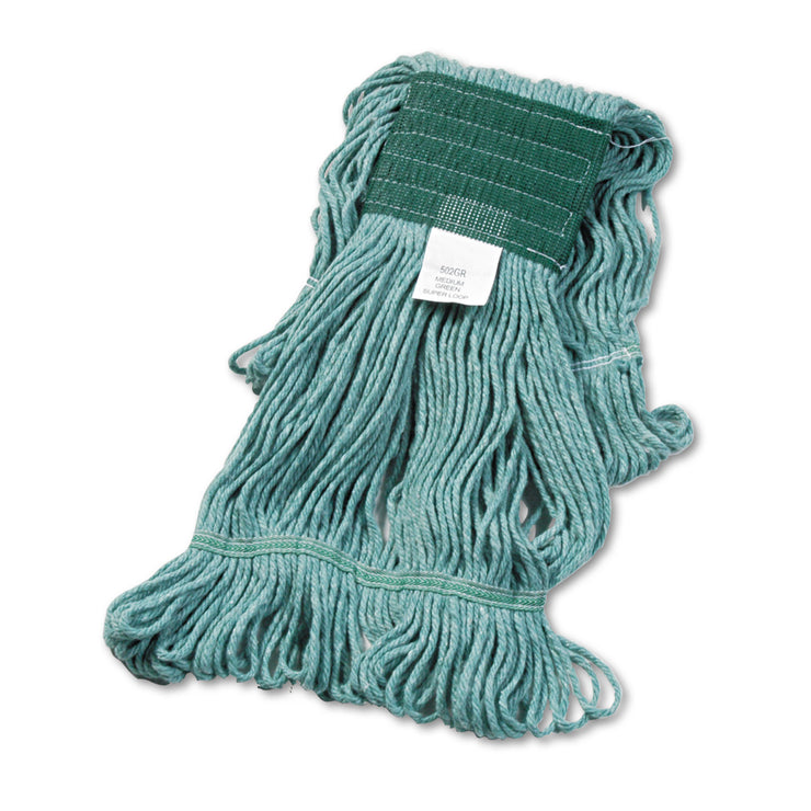 Boardwalk Super Loop Wet Mop Head, Cotton/Synthetic, Medium Size, Green