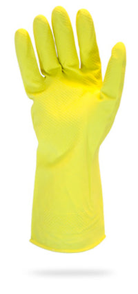 GLOVE YELLOW FLOCK MEDIUM LATEX 1 DZ/BAG