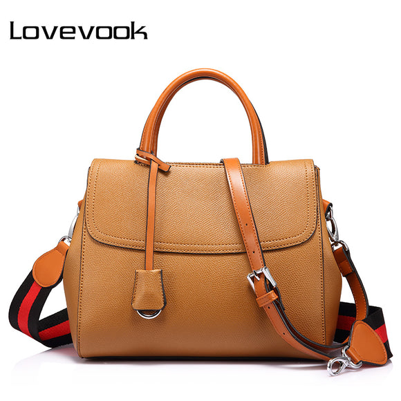 LOVEVOOK women handbag with striped wide strap shoulder crossbody bag female top-handle tote messenger bags handbag for girls
