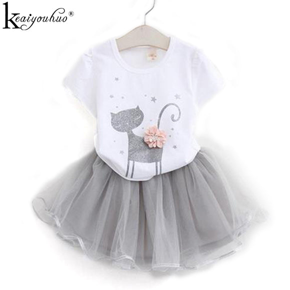 T-shirt+Skirt Kids For Girls 2 3 4 5 6 7 Years