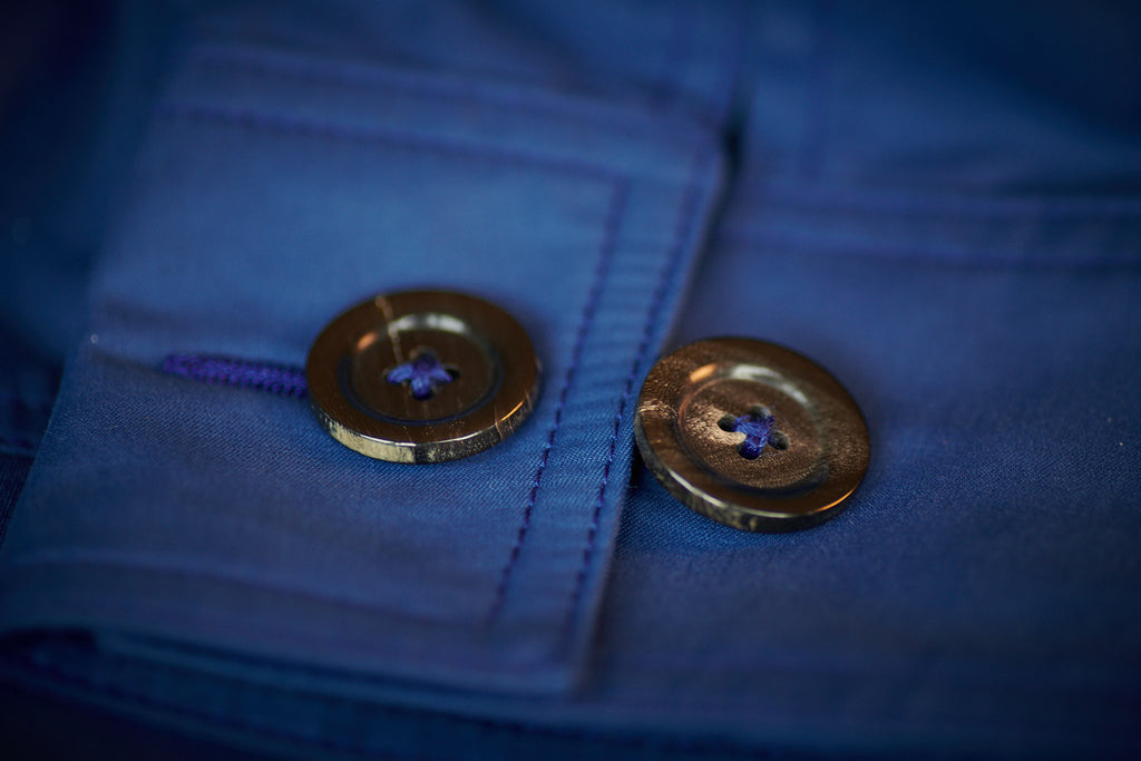 FRAHM LIGHTWEIGHT WORKER'S JACKET CUFF WITH TRIPLE-BOUND BRUSHED ITALIAN HORN BUTTONS & TWIN NEEDLE STITCHING