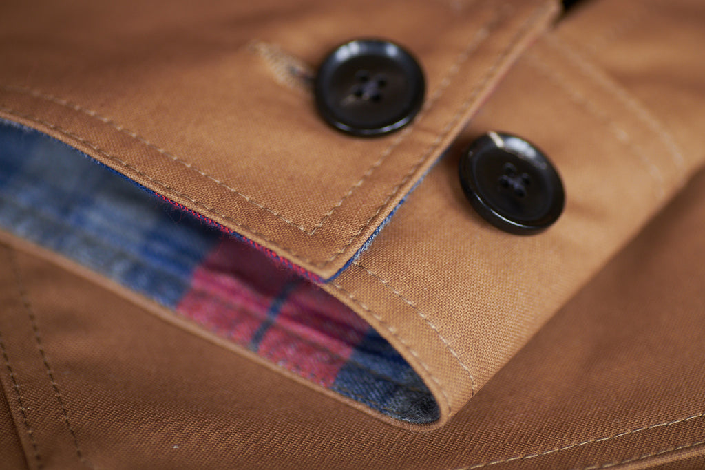 FRAHM WOODLAND WORKER'S JACKET WITH BONDED TARTAN FLANNEL CUFF &  TWIN NEEDLE STITCHING
