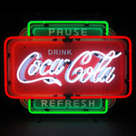 Coca-Cola Pause Refresh Neon Sign with Backing