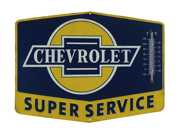 Super Chevy Service Thermometer Tin Sign