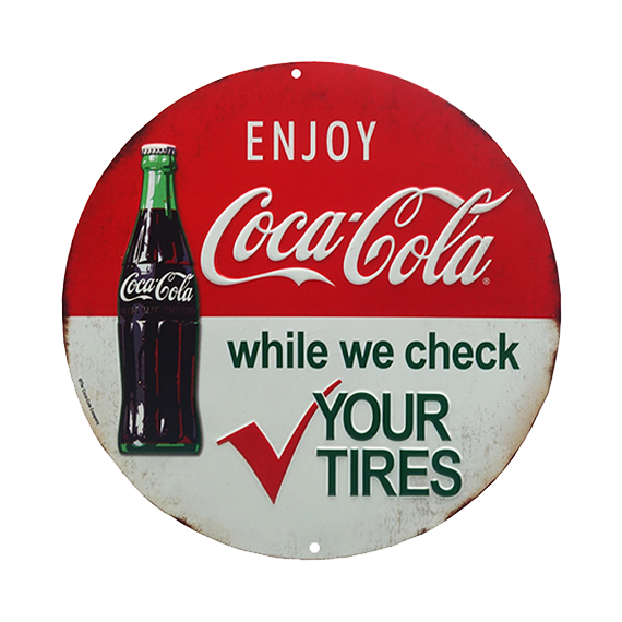 Coca Cola Tire Check Round Embossed Tin Sign