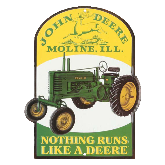 John Deere Tractor Embossed Tin Sign