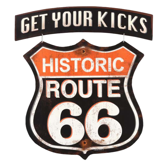 Get Your Kicks Route 66 Linked Embossed Tin Sign