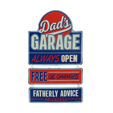 Dad's Garage Embossed Tin Linked Sign