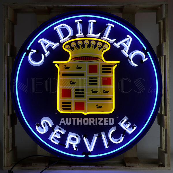 Cadillac Neon Sign in Steel Can