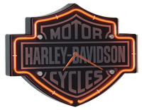 Harley Davidson Etched B&S Shaped Neon Clock
