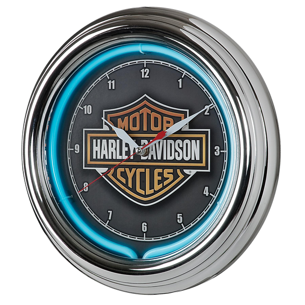 Harley Davidson Essential Bar & Shield Neon Clock