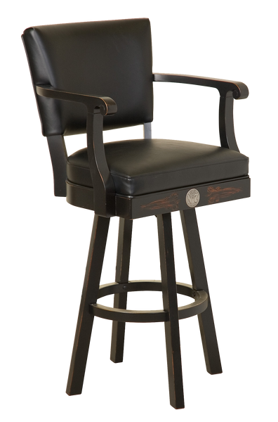 Jack Daniel's  Wood Bar Stool w/ Backrest