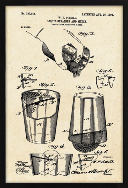 Shaker & Mixer Patent II Framed Artwork