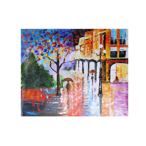 60*70cm Hand-painted Oil Painting Modern City Streetscape Decorative Art for Home Living Room Bedroom Office Hotel Decoration