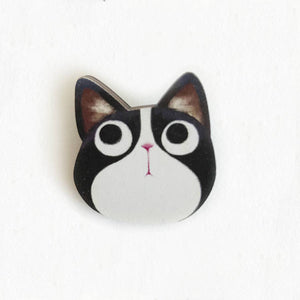 The Little Red House - Tuxedo Cat Wooden Pin