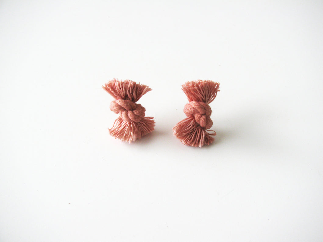 Earrings, Pink Knotted Rope