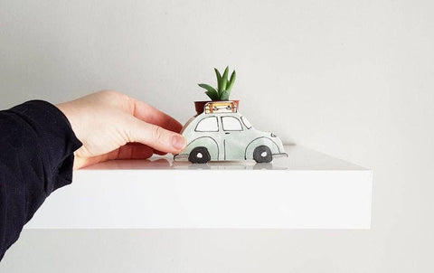 Planter, Green Vintage VW Bug