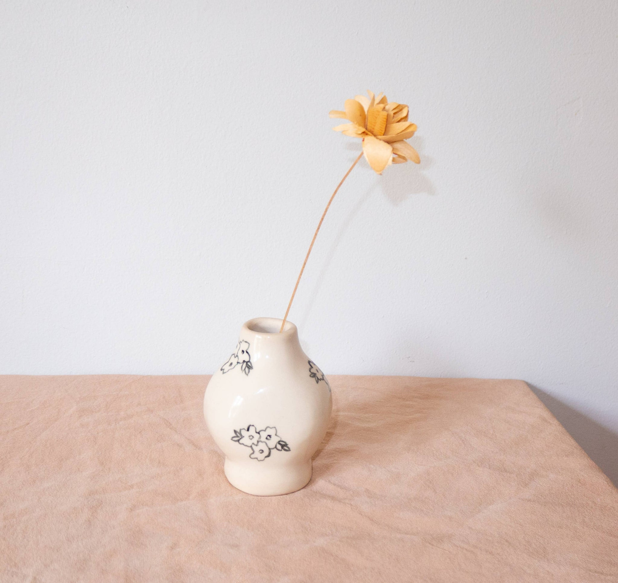 Erika Christine Ceramics - Bud Vase - Black and White
