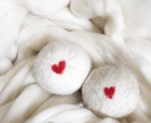 Wool Dryer Balls, Hearts