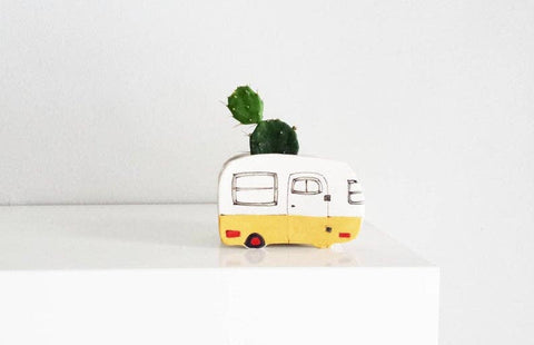 Planter, Small Vintage Yellow Boler