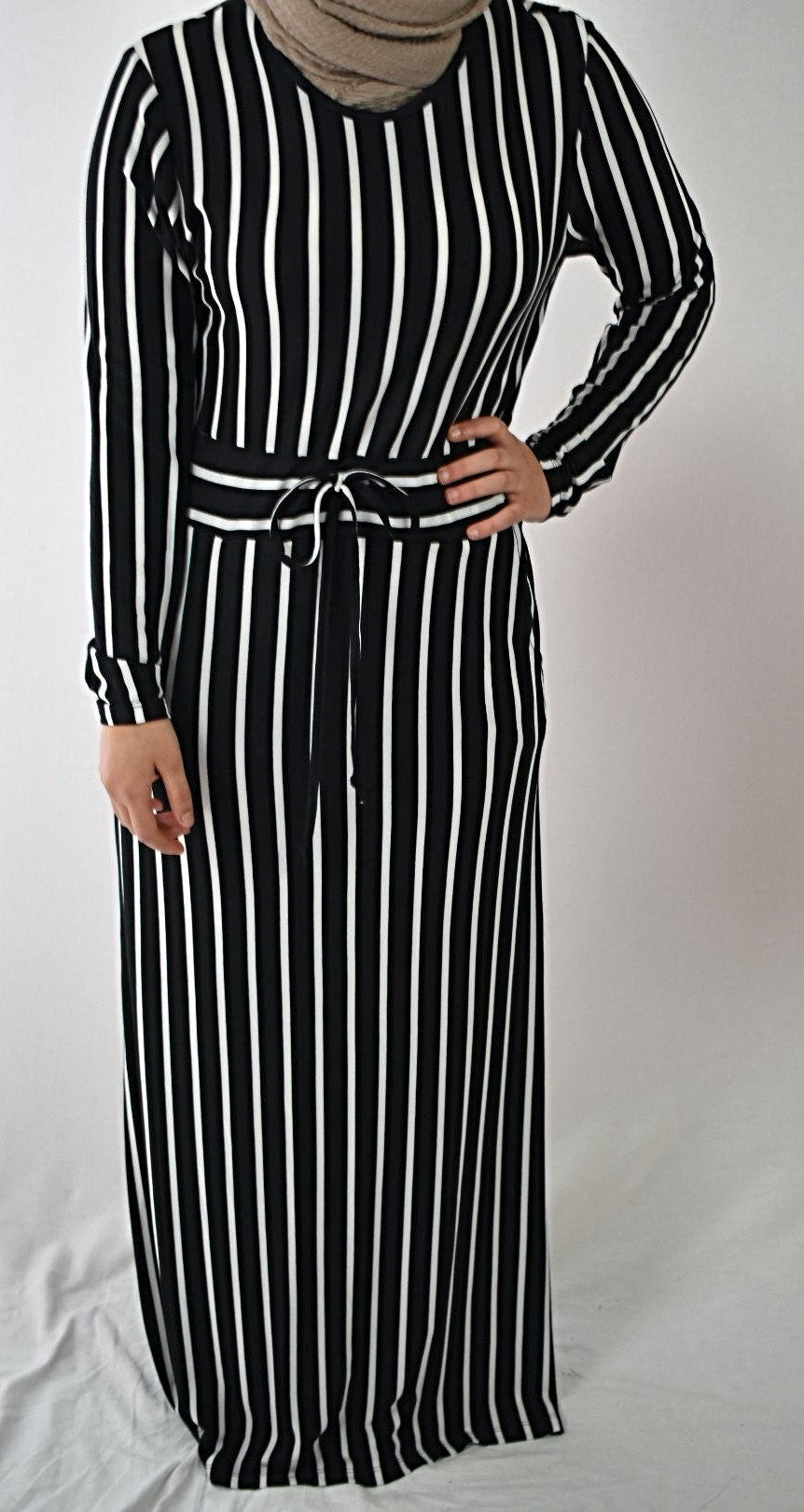 Jersey Striped Maxi Dress - Black