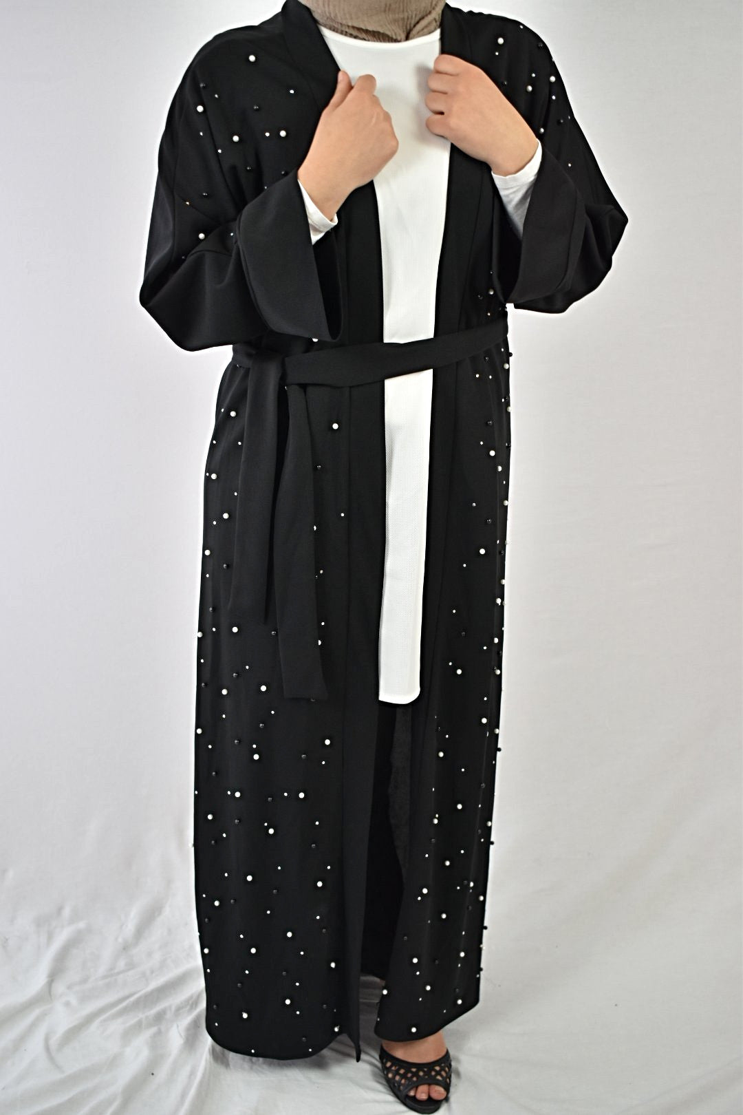 Midnight Pearls Abaya 3 Piece Set