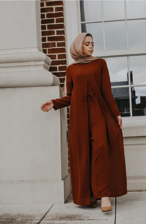 Draped Maxi Jumpsuit - Rust