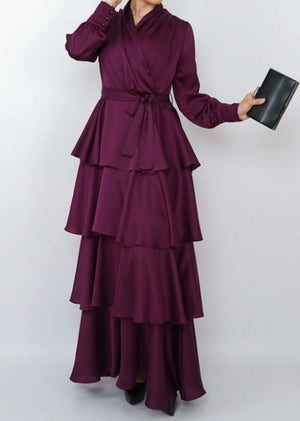 Tiered Satin Dress - Plum