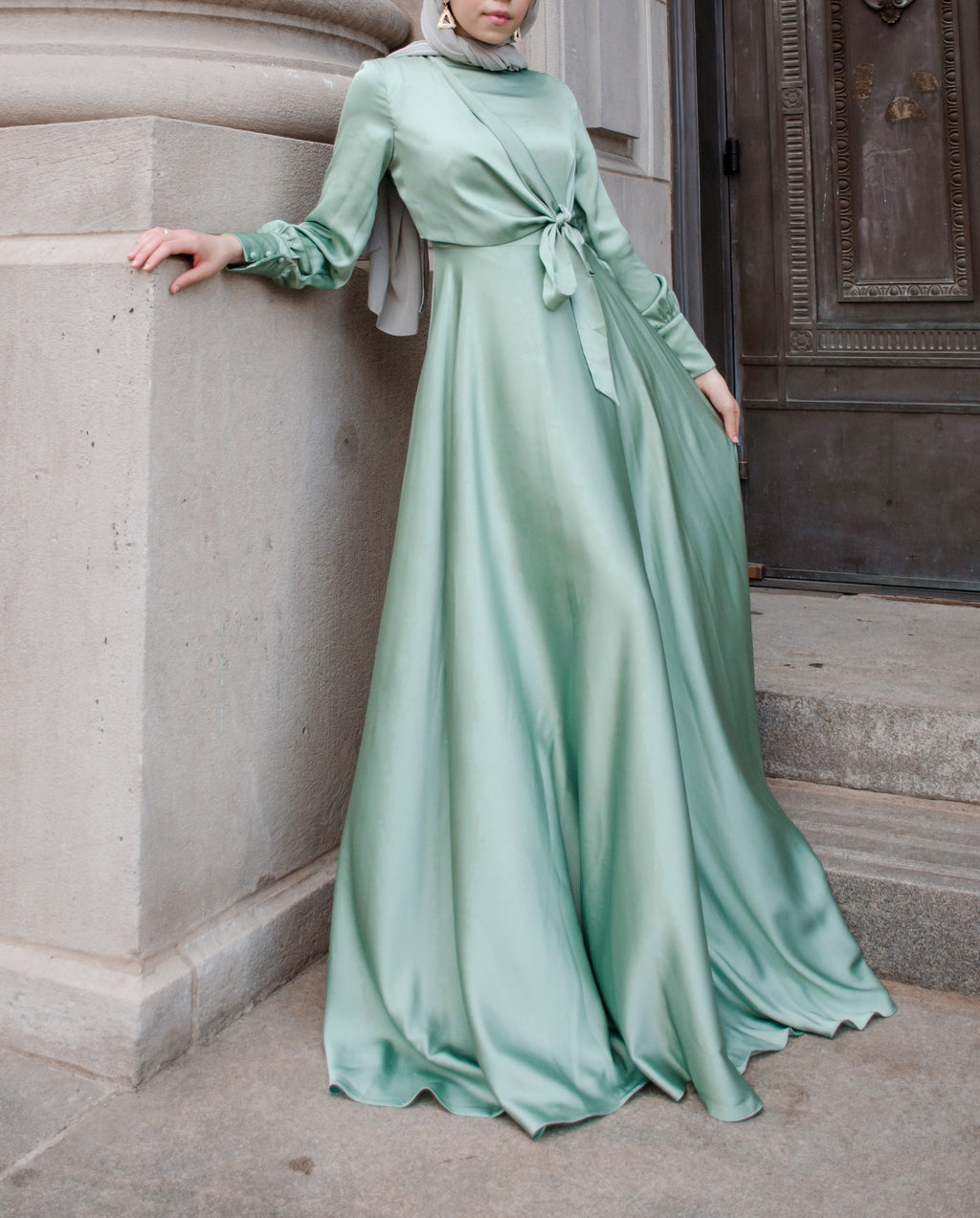 Satin Cross Tie Dress - Mint