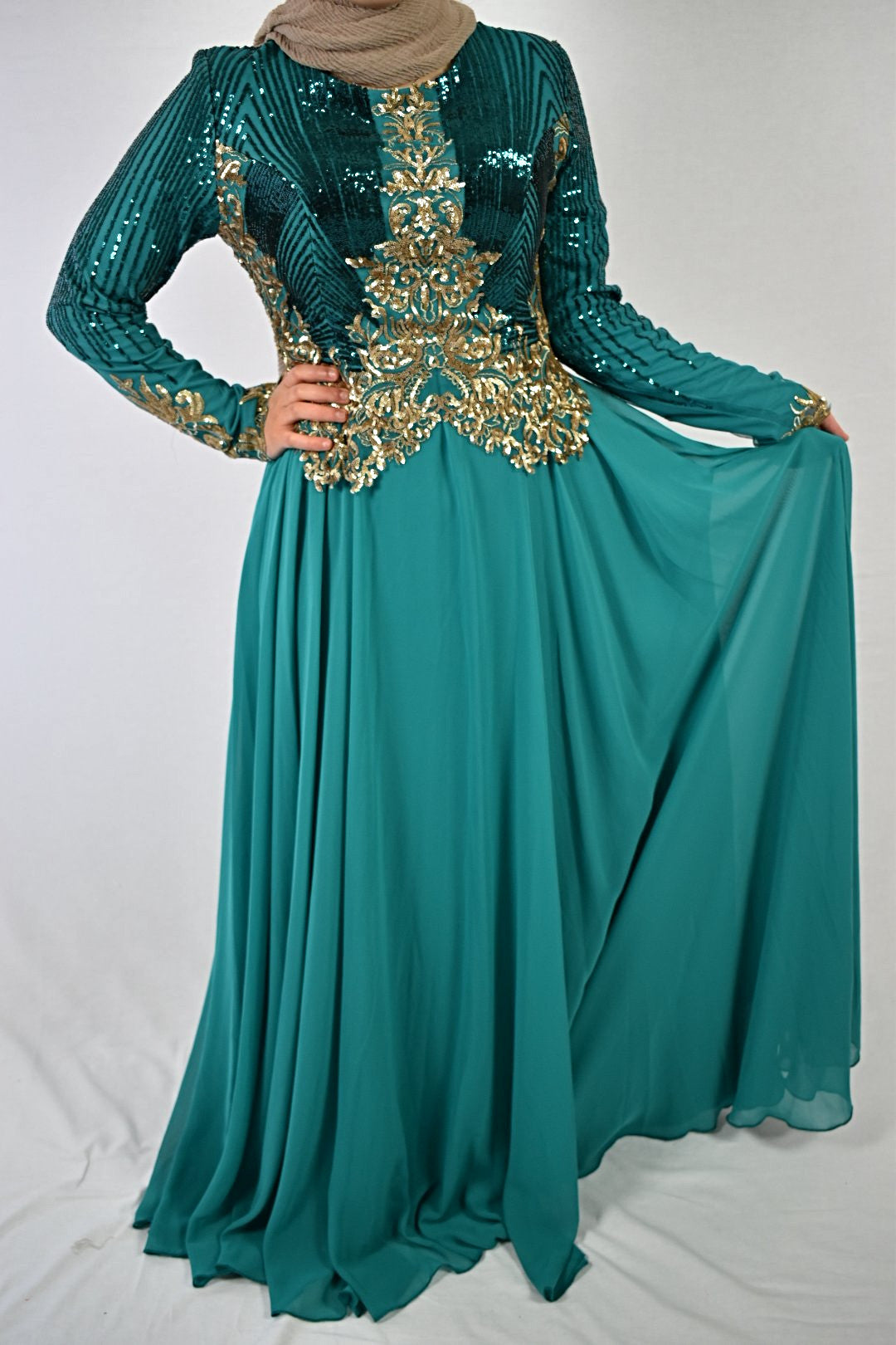 Elegant Evening Dress - Turquoise