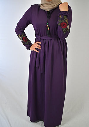 Rose Sleeve Maxi Dress - Purple
