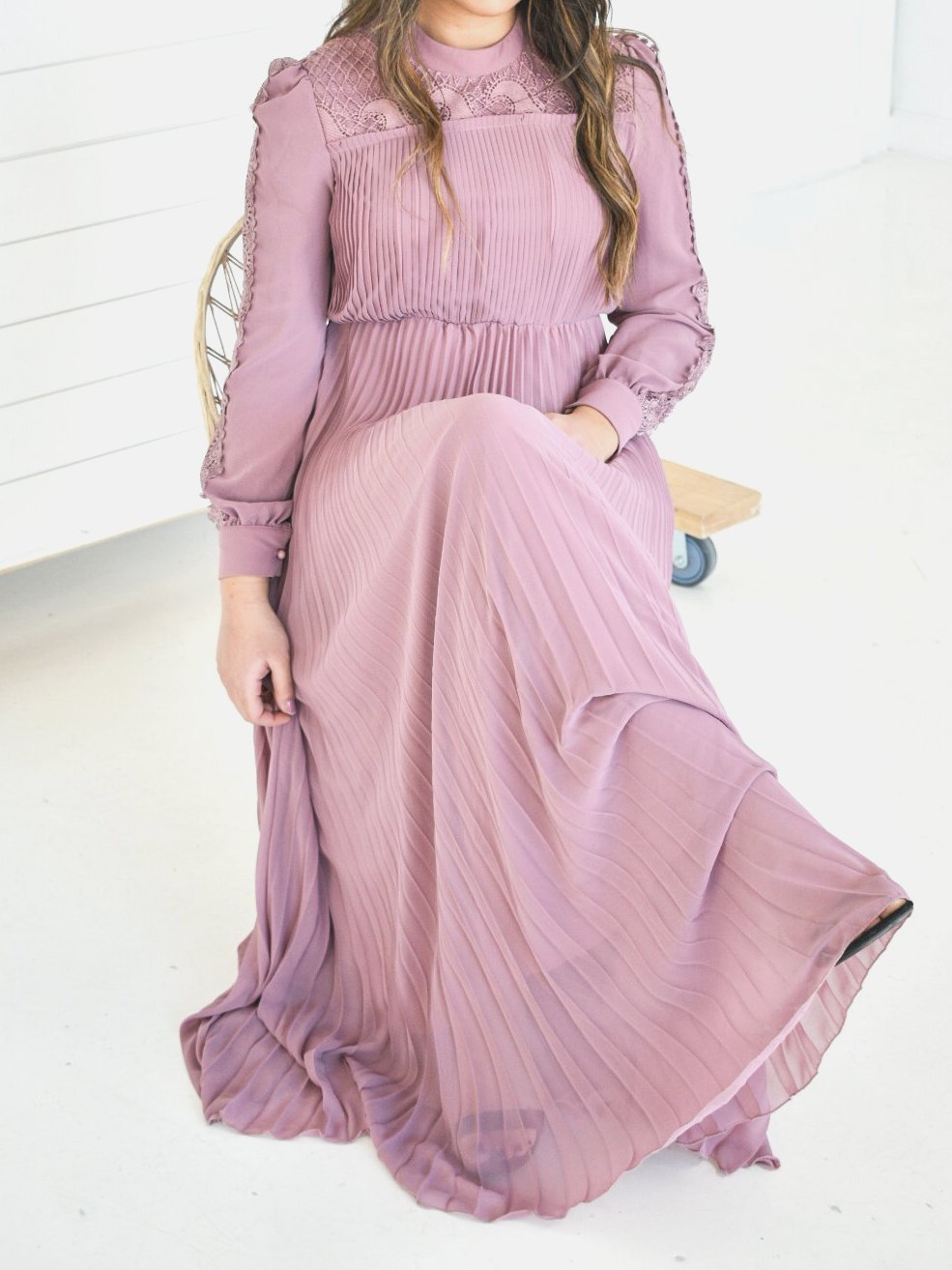 Pleated Chiffon Lace Dress - Mauve