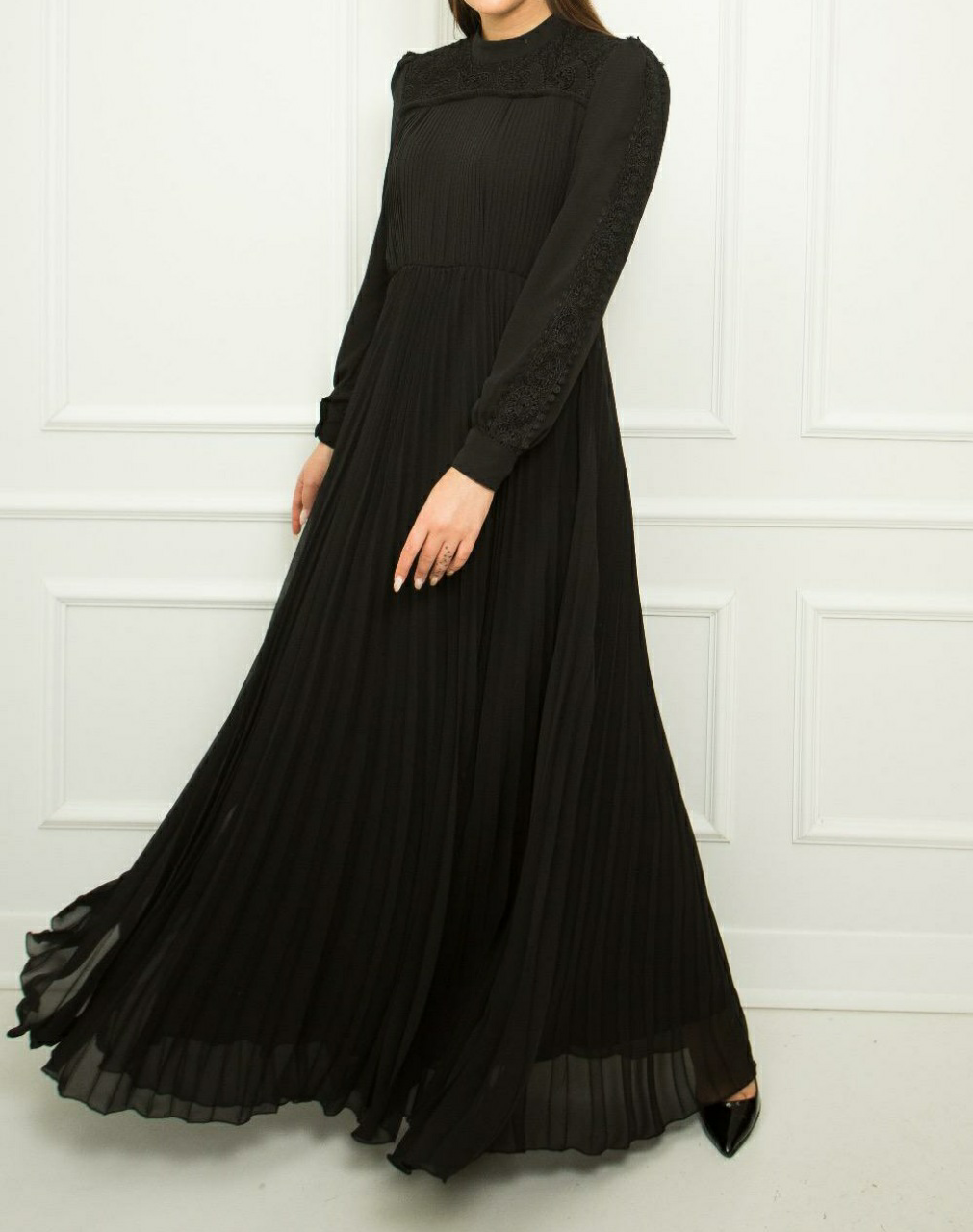 Pleated Chiffon Dress - Black