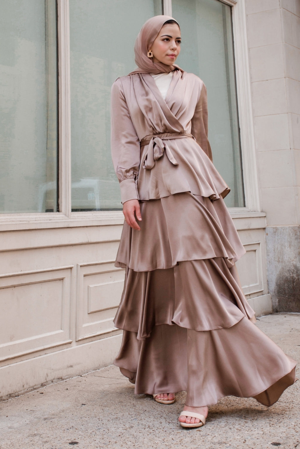 Tiered Satin Dress - Bronze