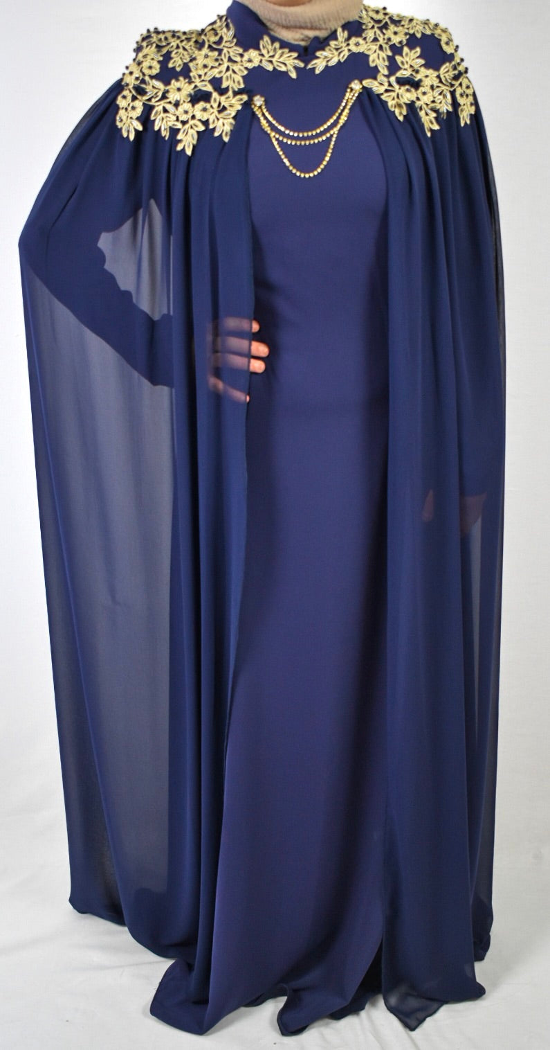 Throne Cape Dress - Navy