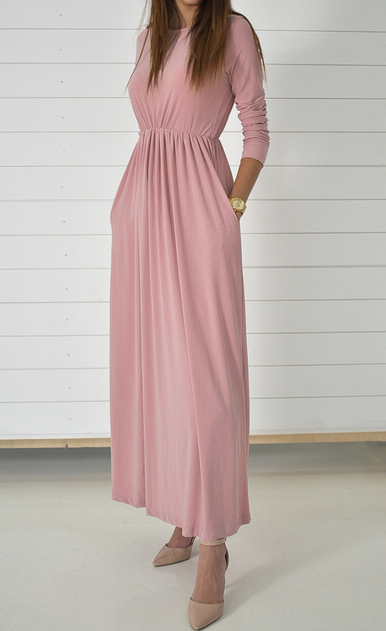 Basic Stretch Maxi Dress - Pink