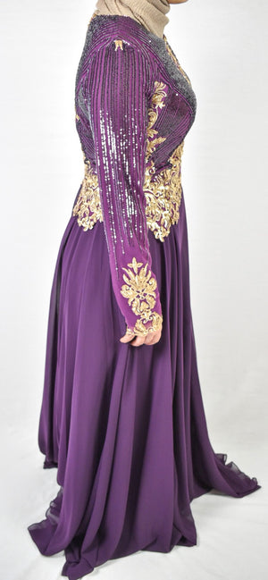 Elegant Evening Dress -Purple