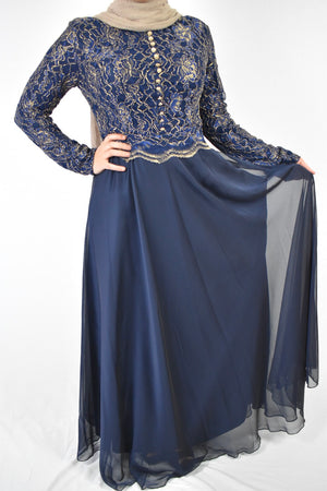 Golden Lace Evening Dress - Navy